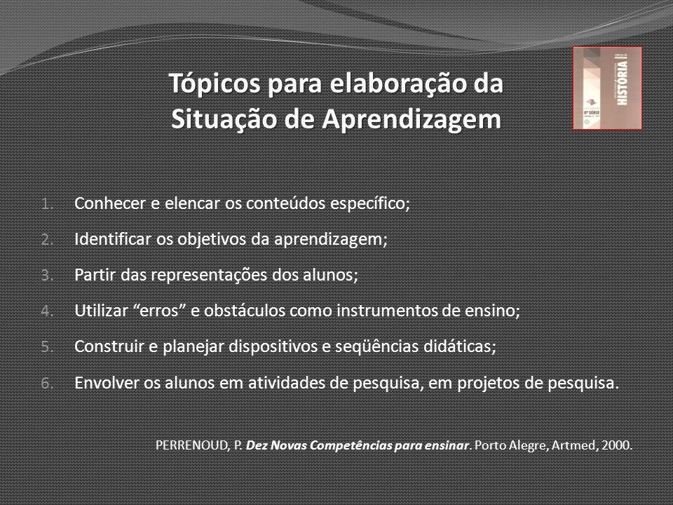 Tópicos para elaboração da Situação de Aprendizagem