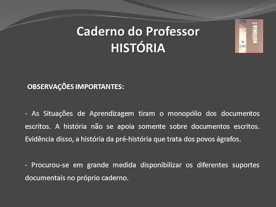 Caderno do Professor HISTÓRIA