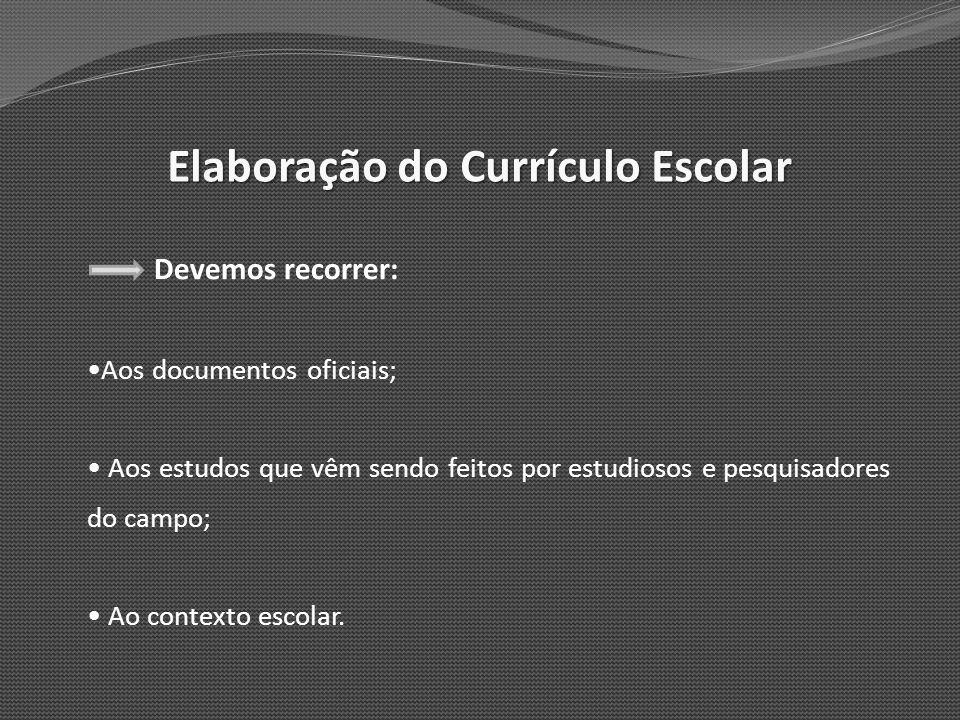 Elaboração do Currículo Escolar