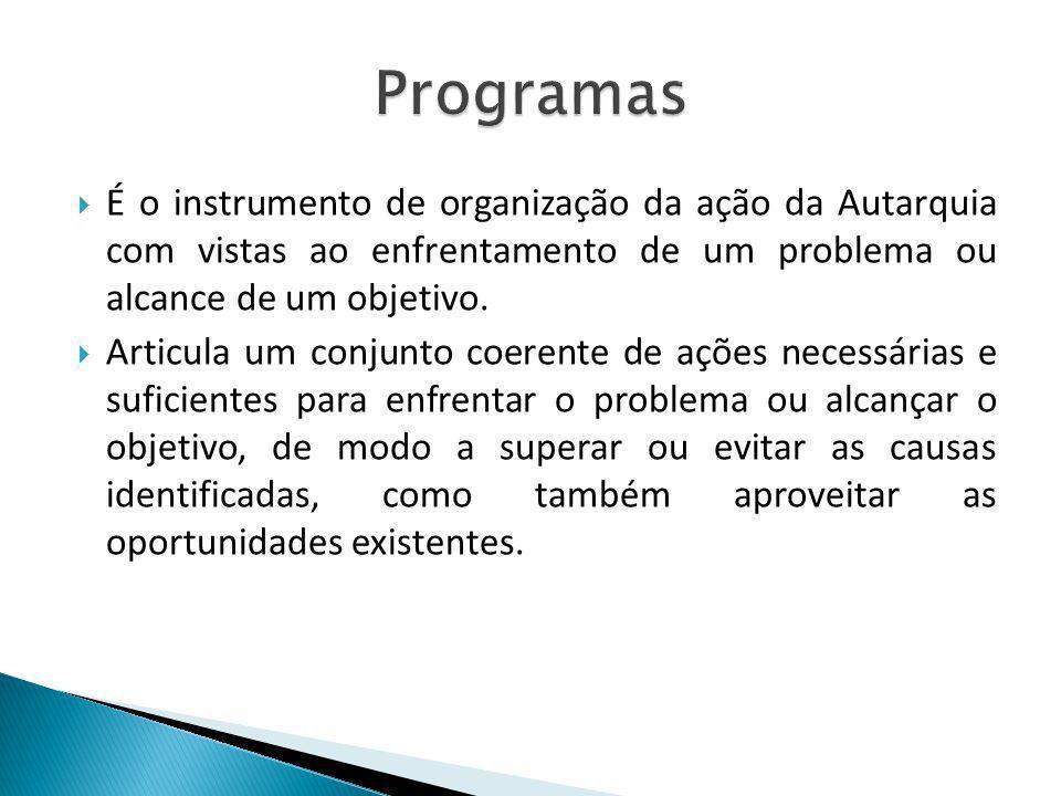 Programas É o instrumento de organização da ação da Autarquia com vistas ao enfrentamento de um problema ou alcance de um objetivo.