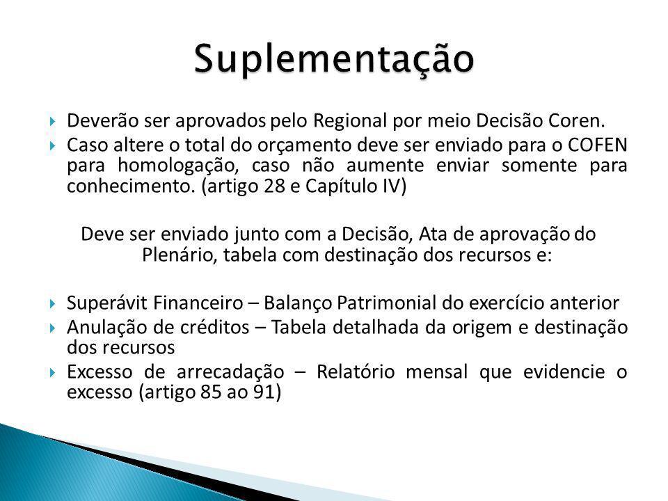 Suplementação Deverão ser aprovados pelo Regional por meio Decisão Coren.