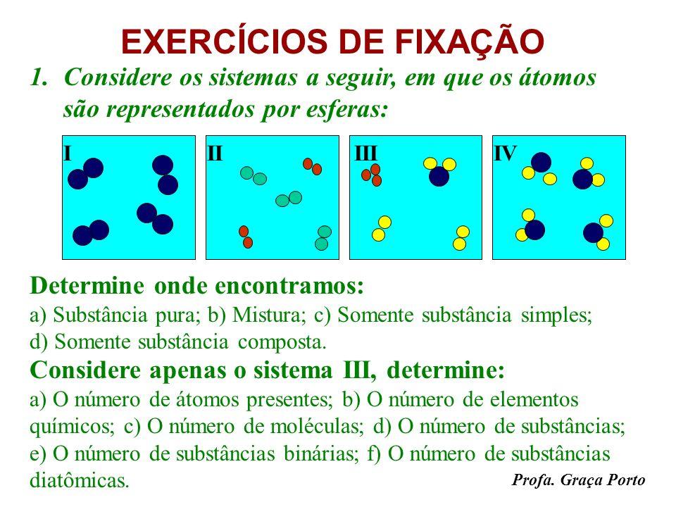 EXERCÍCIOS DE FIXAÇÃO Considere os sistemas a seguir, em que os átomos são representados por esferas: