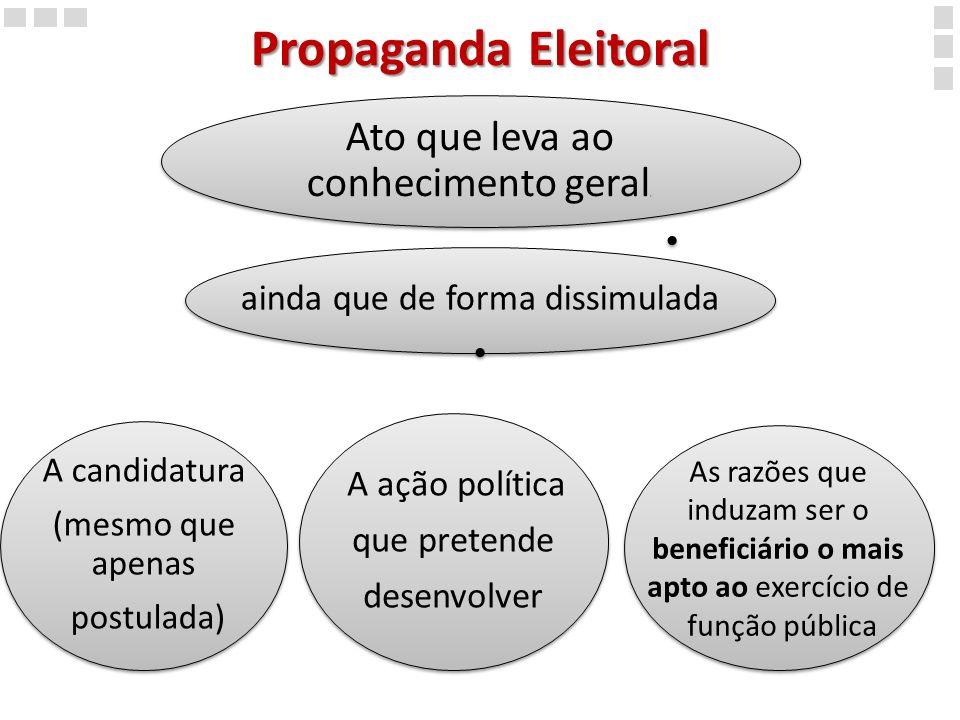 Propaganda Eleitoral Ato que leva ao conhecimento geral,