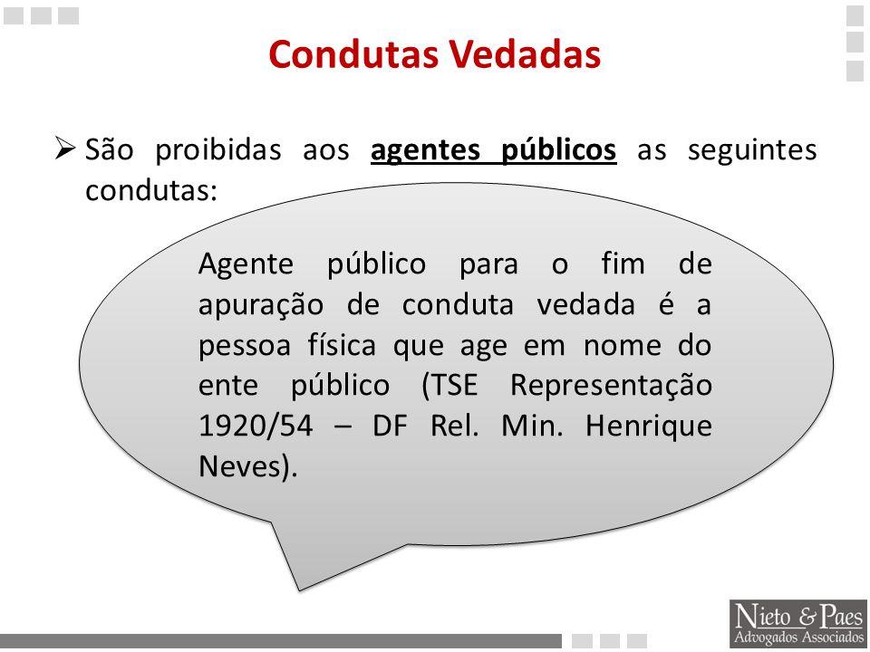 Condutas Vedadas São proibidas aos agentes públicos as seguintes condutas: