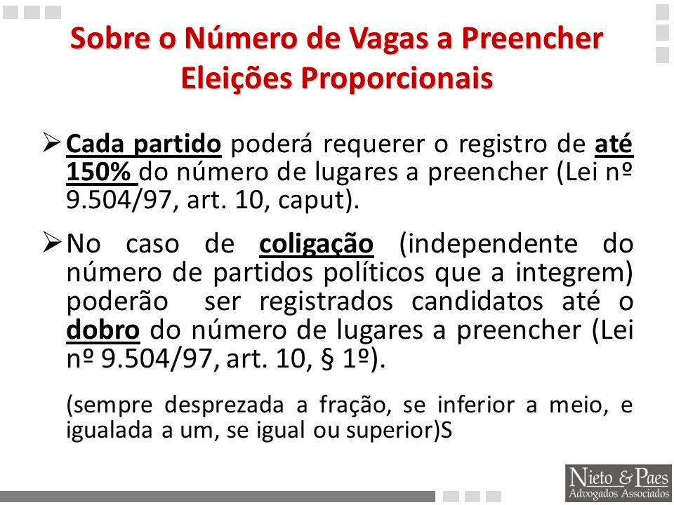 Sobre o Número de Vagas a Preencher Eleições Proporcionais