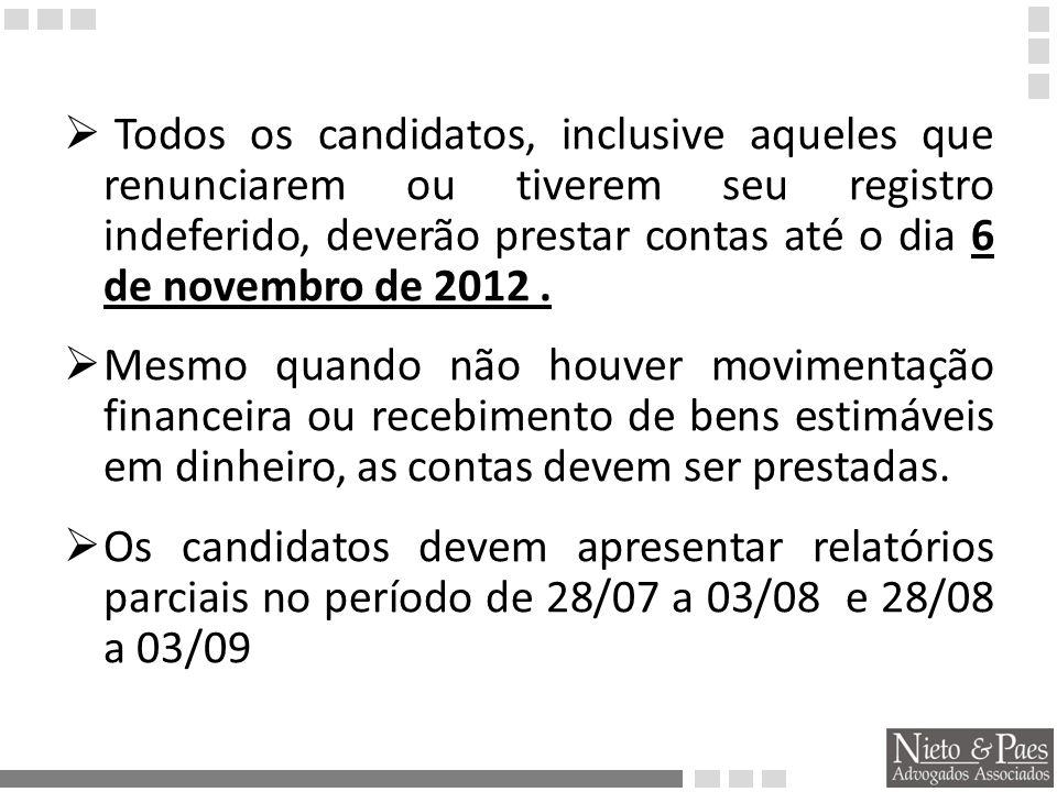 Todos os candidatos, inclusive aqueles que renunciarem ou tiverem seu registro indeferido, deverão prestar contas até o dia 6 de novembro de 2012 .