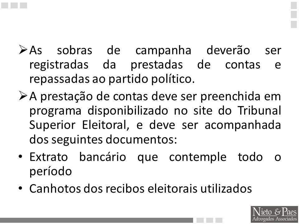 As sobras de campanha deverão ser registradas da prestadas de contas e repassadas ao partido político.