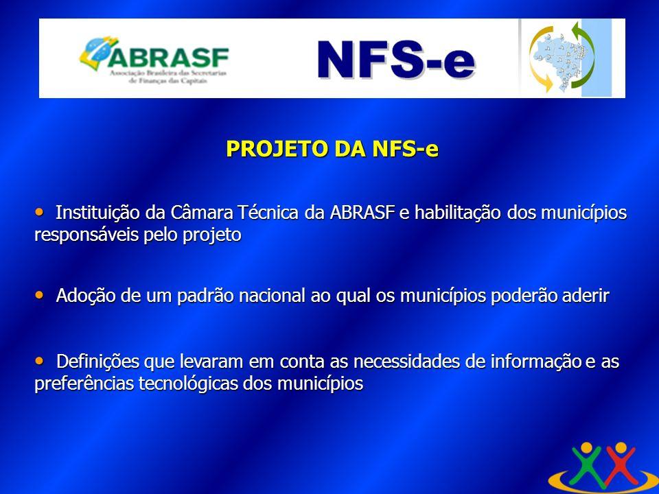 A PROJETO DA NFS-e. Instituição da Câmara Técnica da ABRASF e habilitação dos municípios responsáveis pelo projeto.