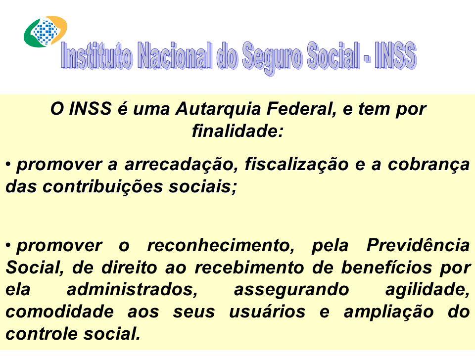 O INSS é uma Autarquia Federal, e tem por finalidade: