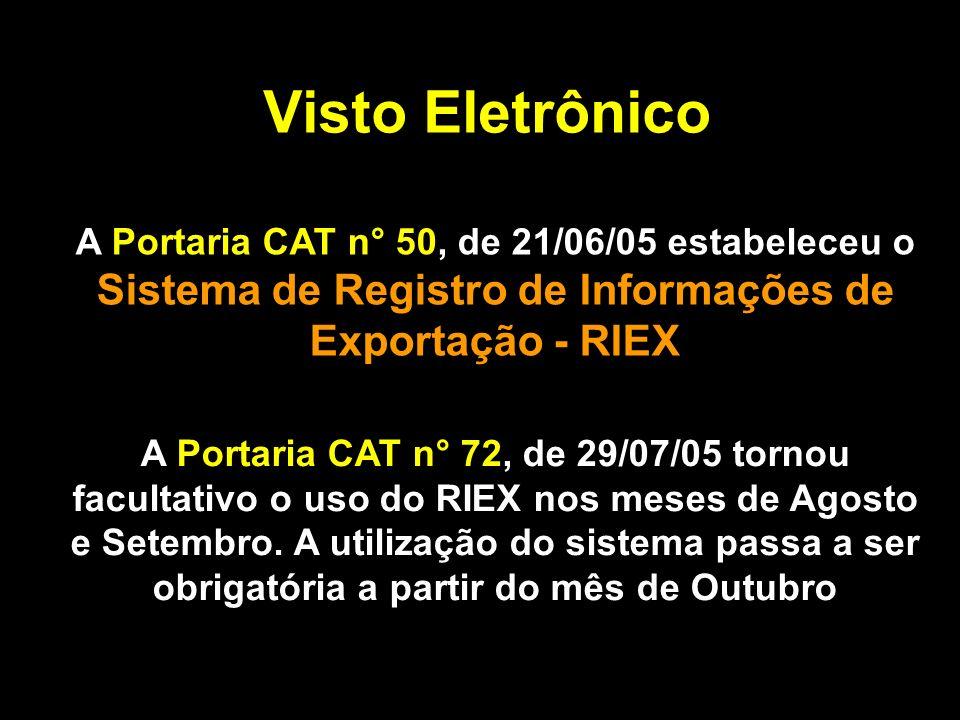 Visto Eletrônico A Portaria CAT n° 50, de 21/06/05 estabeleceu o Sistema de Registro de Informações de Exportação - RIEX.