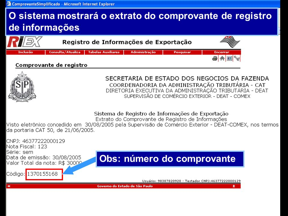 O sistema mostrará o extrato do comprovante de registro de informações