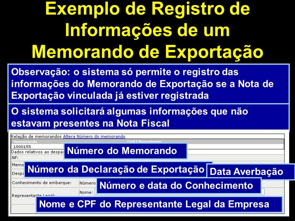 Exemplo de Registro de Informações de um Memorando de Exportação