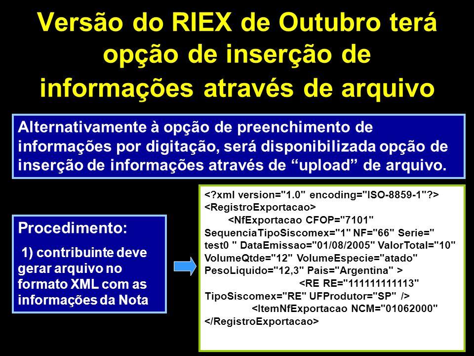 Versão do RIEX de Outubro terá opção de inserção de informações através de arquivo