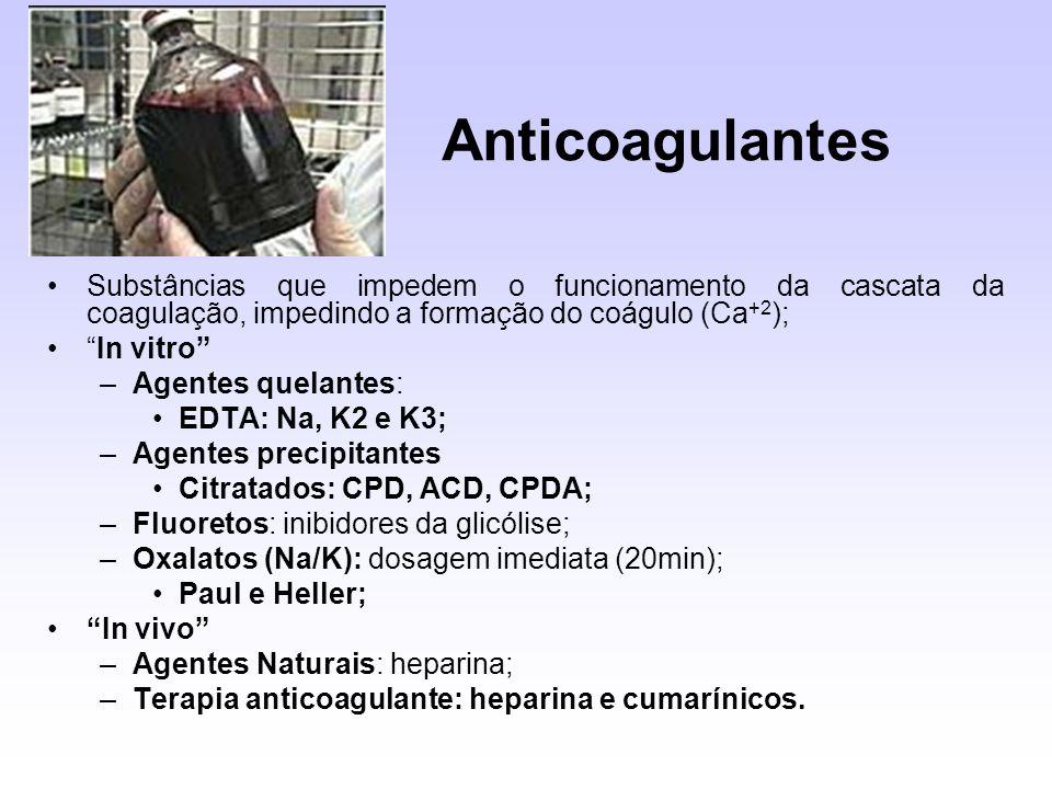 Anticoagulantes Substâncias que impedem o funcionamento da cascata da coagulação, impedindo a formação do coágulo (Ca+2);