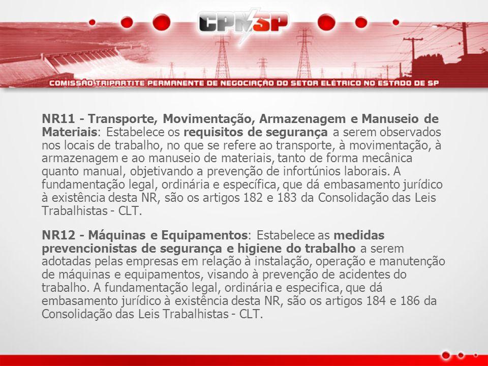 NR11 - Transporte, Movimentação, Armazenagem e Manuseio de Materiais: Estabelece os requisitos de segurança a serem observados nos locais de trabalho, no que se refere ao transporte, à movimentação, à armazenagem e ao manuseio de materiais, tanto de forma mecânica quanto manual, objetivando a prevenção de infortúnios laborais. A fundamentação legal, ordinária e específica, que dá embasamento jurídico à existência desta NR, são os artigos 182 e 183 da Consolidação das Leis Trabalhistas - CLT.