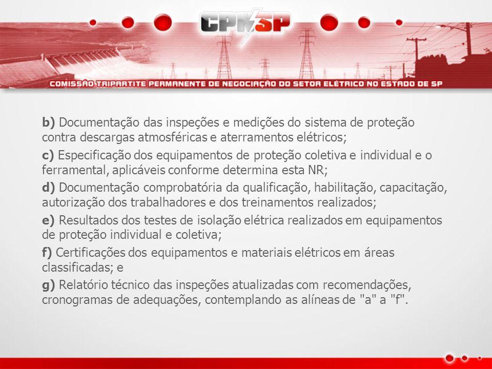 b) Documentação das inspeções e medições do sistema de proteção contra descargas atmosféricas e aterramentos elétricos;