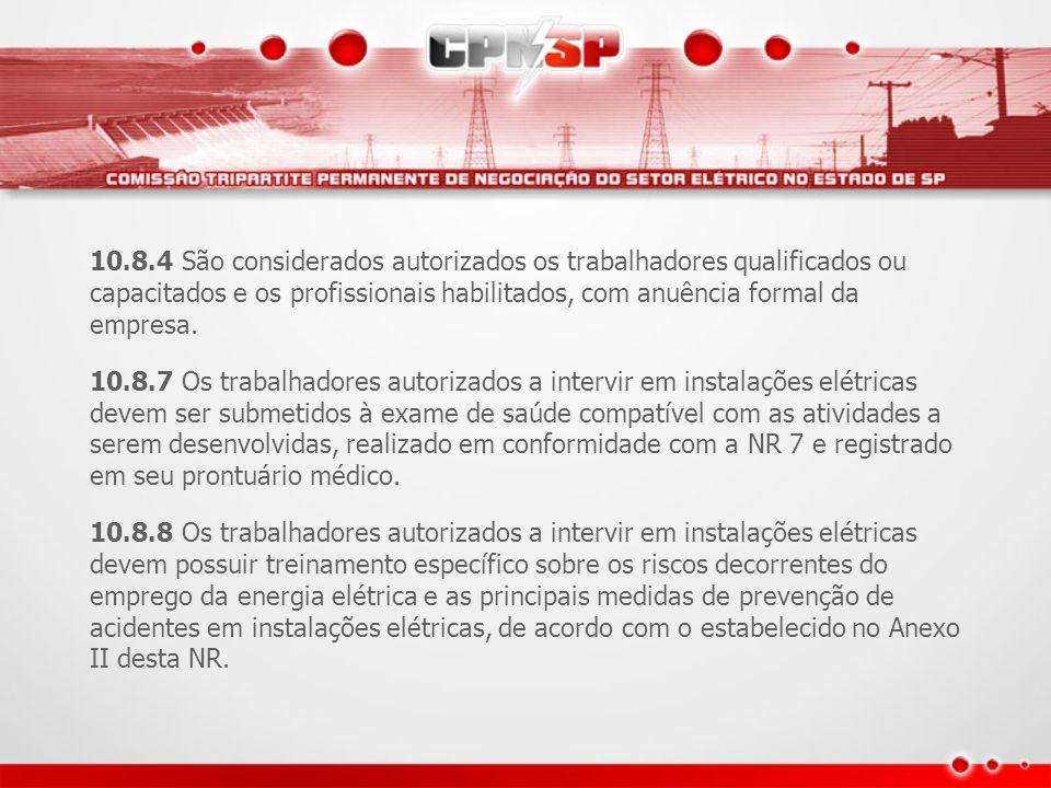 10.8.4 São considerados autorizados os trabalhadores qualificados ou capacitados e os profissionais habilitados, com anuência formal da empresa.