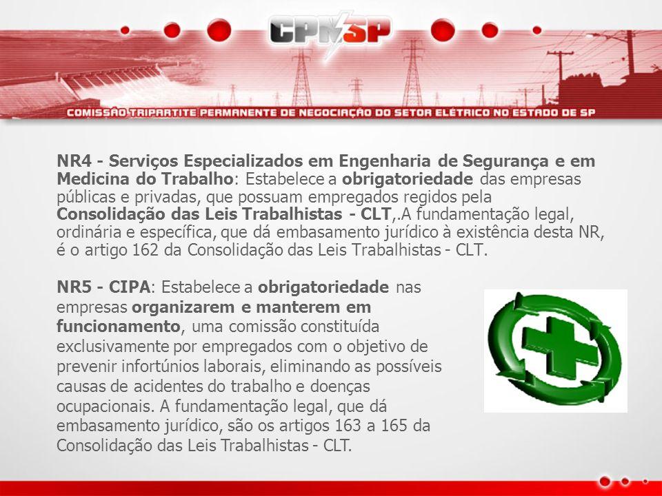 NR4 - Serviços Especializados em Engenharia de Segurança e em Medicina do Trabalho: Estabelece a obrigatoriedade das empresas públicas e privadas, que possuam empregados regidos pela Consolidação das Leis Trabalhistas - CLT,.A fundamentação legal, ordinária e específica, que dá embasamento jurídico à existência desta NR, é o artigo 162 da Consolidação das Leis Trabalhistas - CLT.