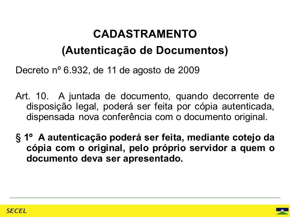 CADASTRAMENTO (Autenticação de Documentos)