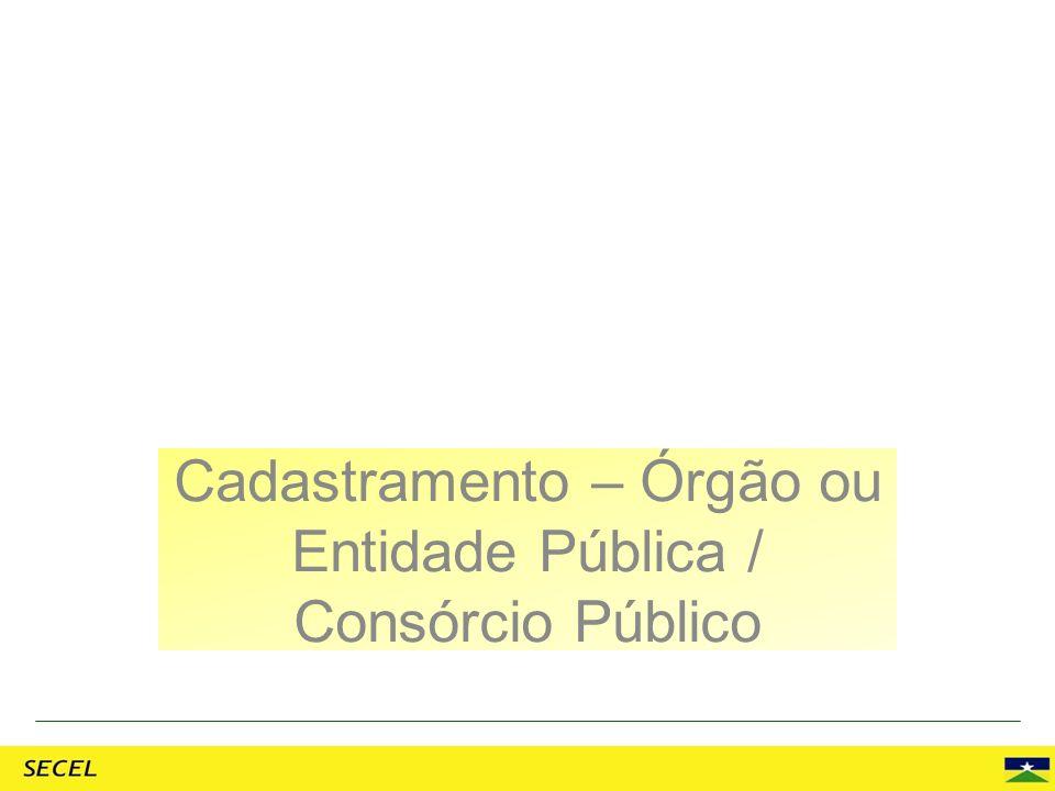 Cadastramento – Órgão ou Entidade Pública / Consórcio Público