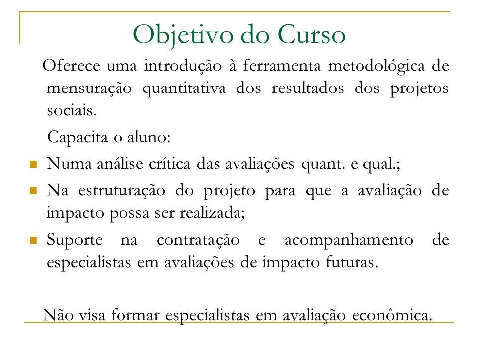Objetivo do Curso Oferece uma introdução à ferramenta metodológica de mensuração quantitativa dos resultados dos projetos sociais.
