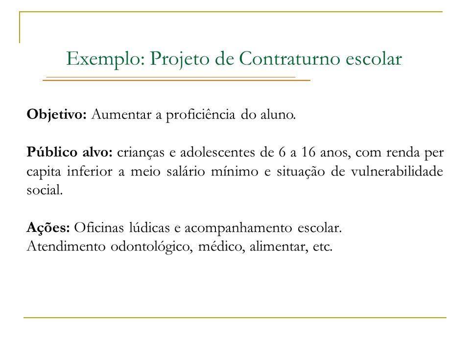 Exemplo: Projeto de Contraturno escolar