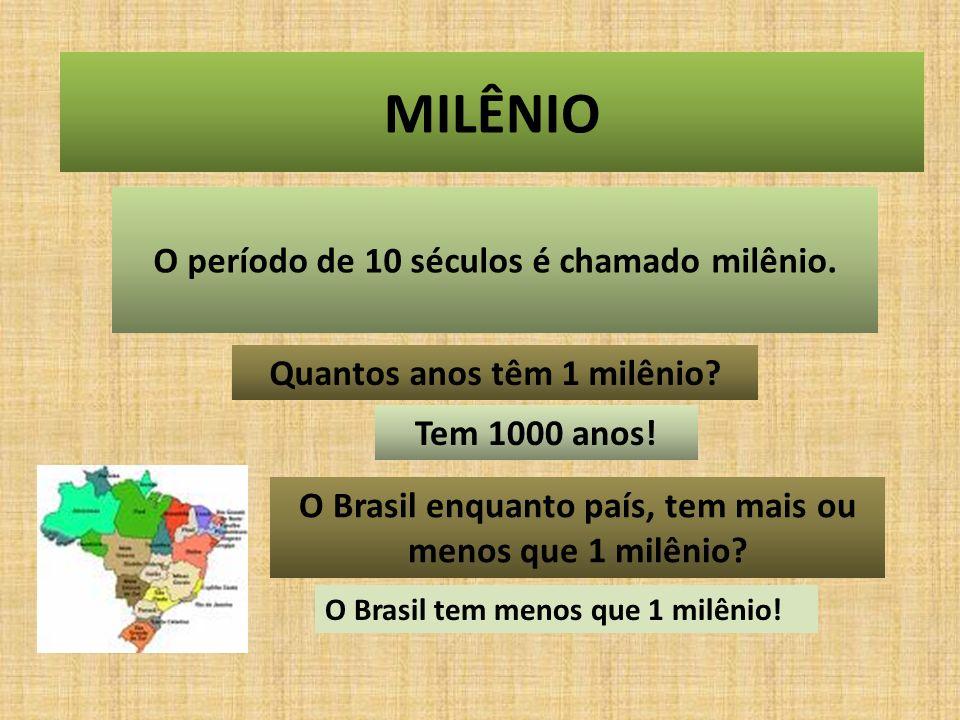 MILÊNIO O período de 10 séculos é chamado milênio.