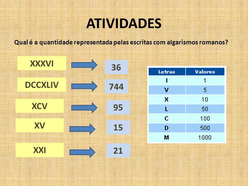 ATIVIDADES XXXVI 36 DCCXLIV 744 XCV 95 XV 15 XXI 21