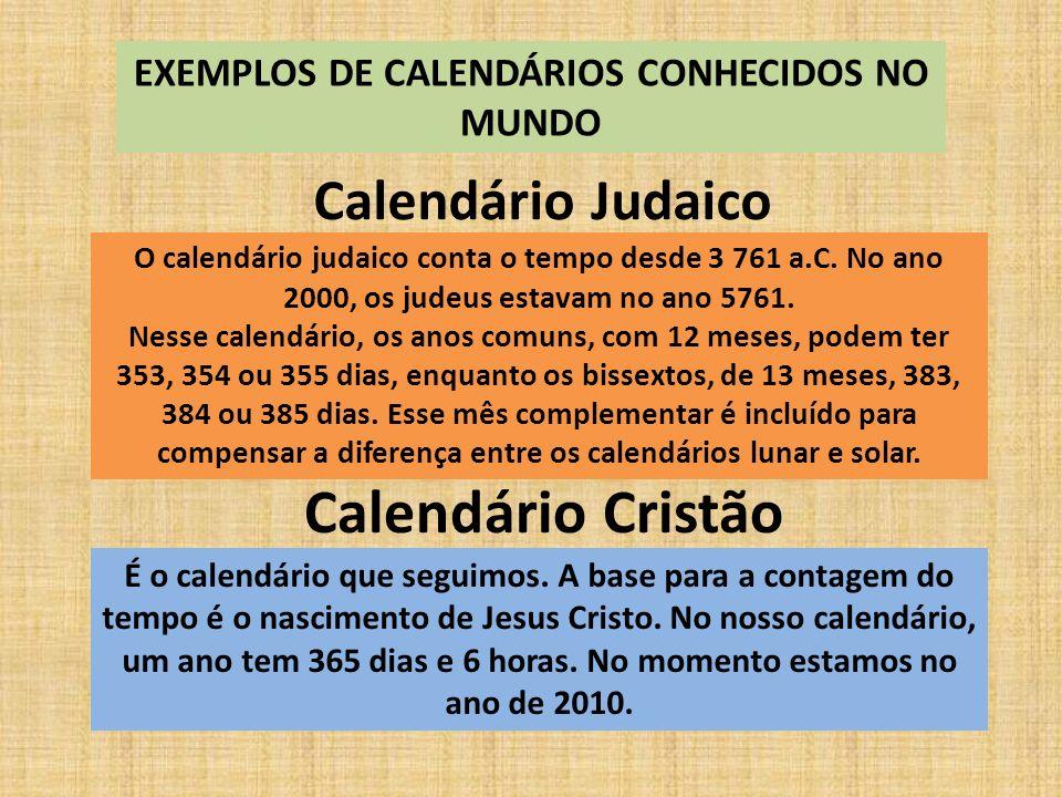 EXEMPLOS DE CALENDÁRIOS CONHECIDOS NO MUNDO