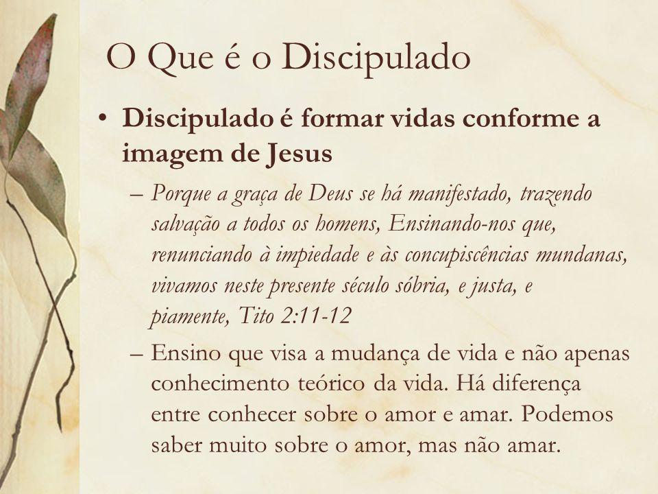 O Que é o Discipulado Discipulado é formar vidas conforme a imagem de Jesus.