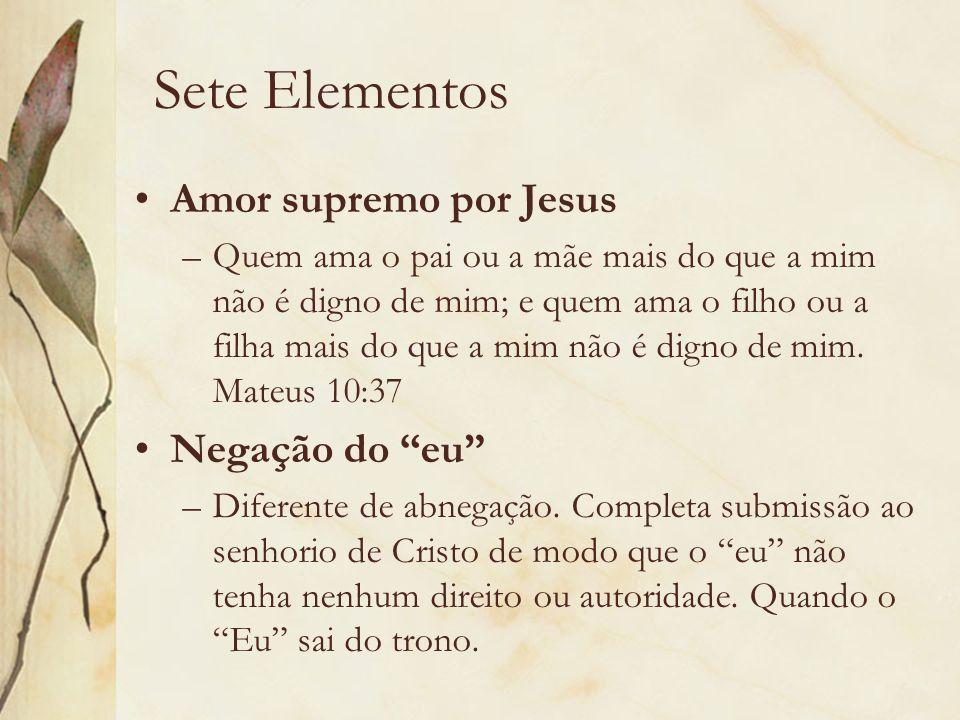 Sete Elementos Amor supremo por Jesus Negação do eu