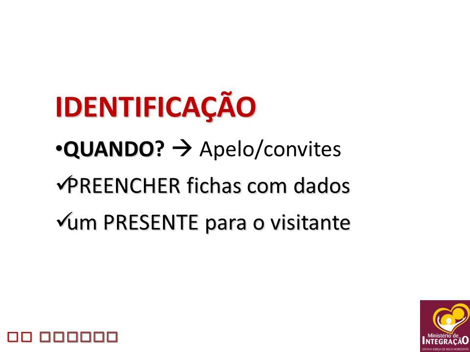 IDENTIFICAÇÃO QUANDO  Apelo/convites PREENCHER fichas com dados