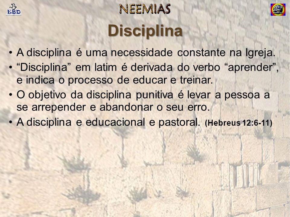 Disciplina A disciplina é uma necessidade constante na Igreja.