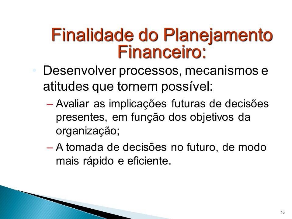 Finalidade do Planejamento Financeiro: