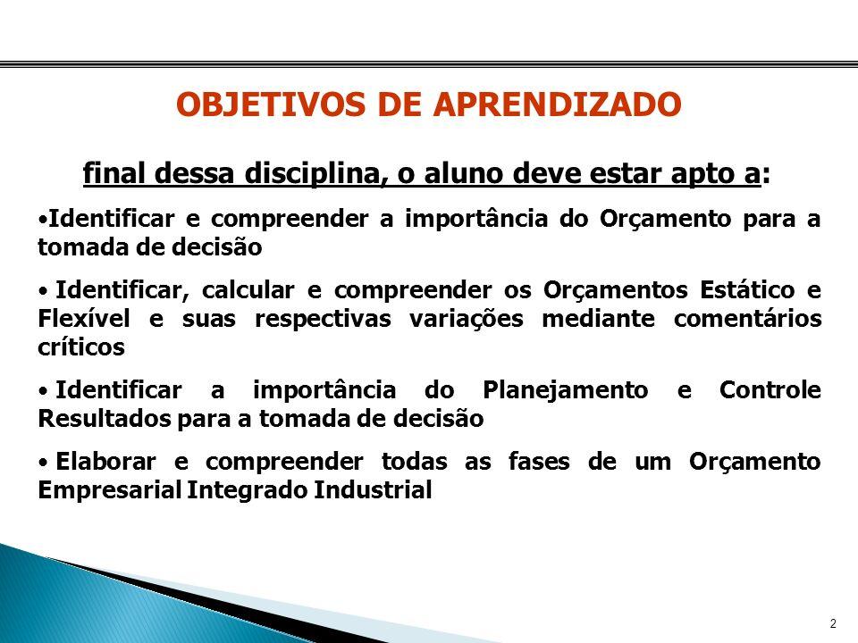 OBJETIVOS DE APRENDIZADO