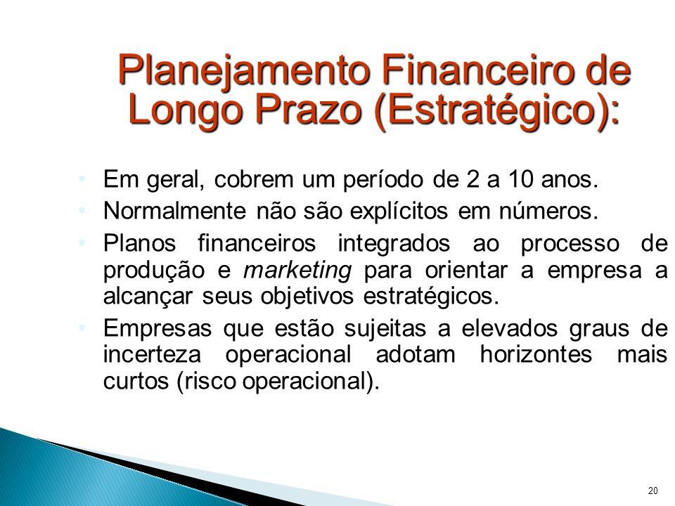 Planejamento Financeiro de Longo Prazo (Estratégico):