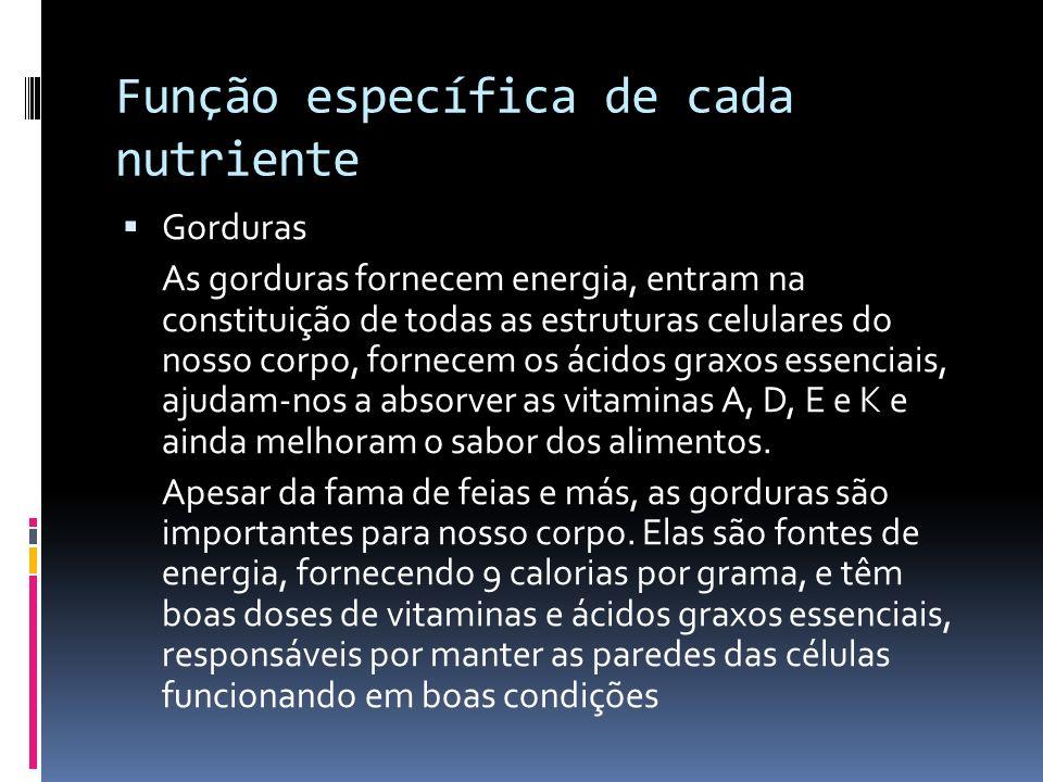Função específica de cada nutriente