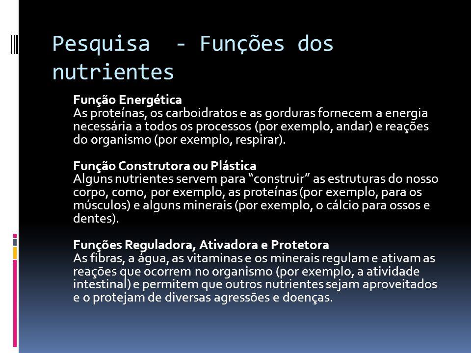 Pesquisa - Funções dos nutrientes