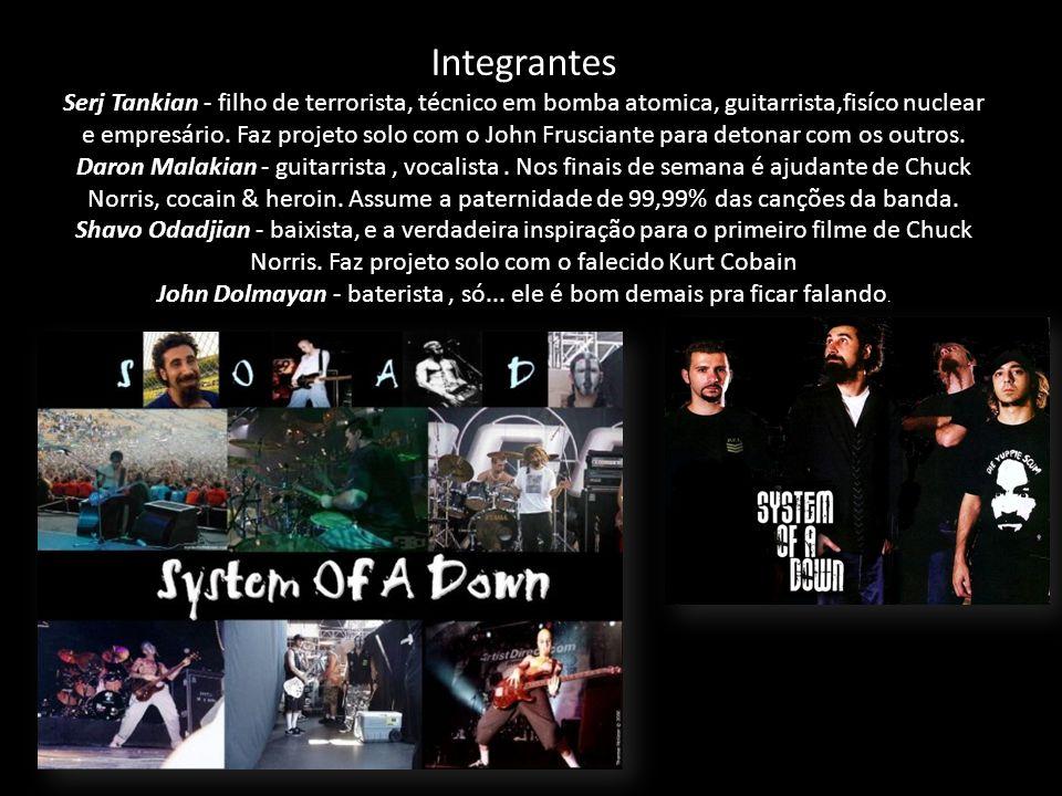 Integrantes Serj Tankian - filho de terrorista, técnico em bomba atomica, guitarrista,fisíco nuclear e empresário.