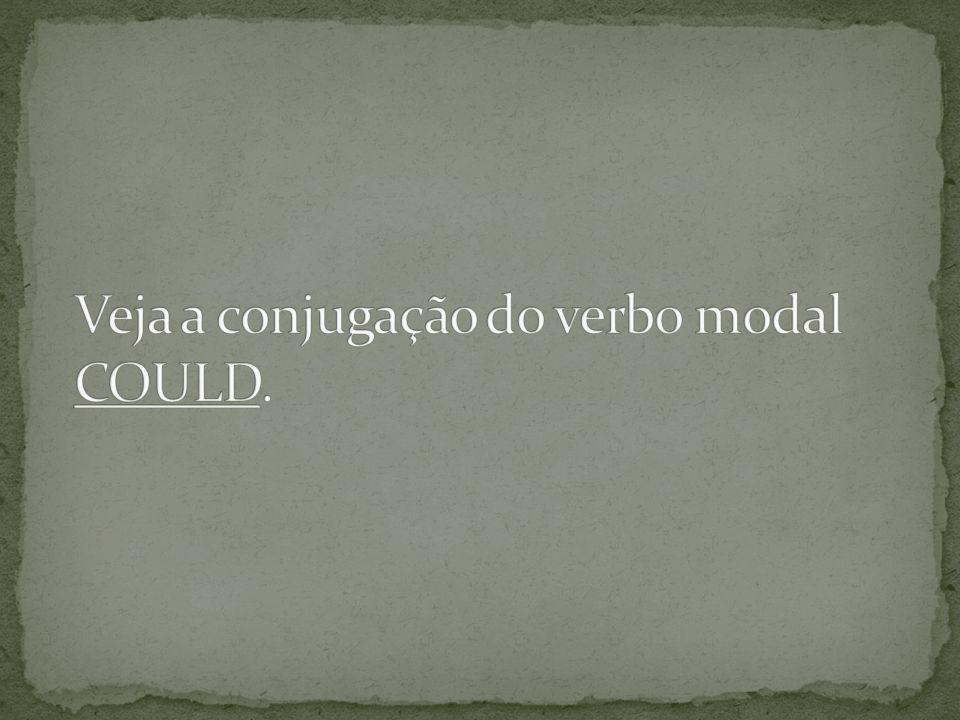 Veja a conjugação do verbo modal COULD.