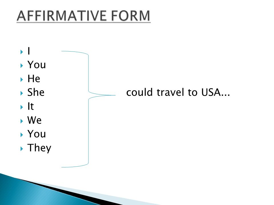 AFFIRMATIVE FORM I You He She could travel to USA... It We They