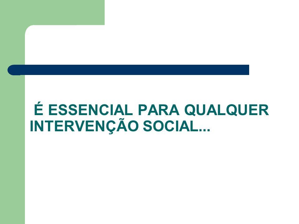 É ESSENCIAL PARA QUALQUER INTERVENÇÃO SOCIAL...