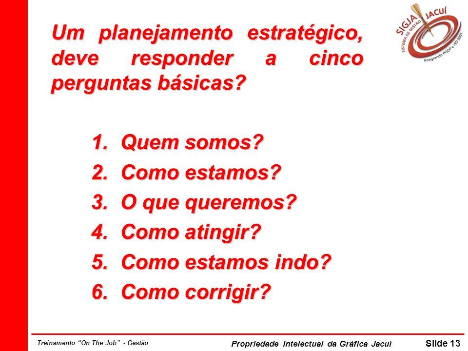 Um planejamento estratégico, deve responder a cinco perguntas básicas