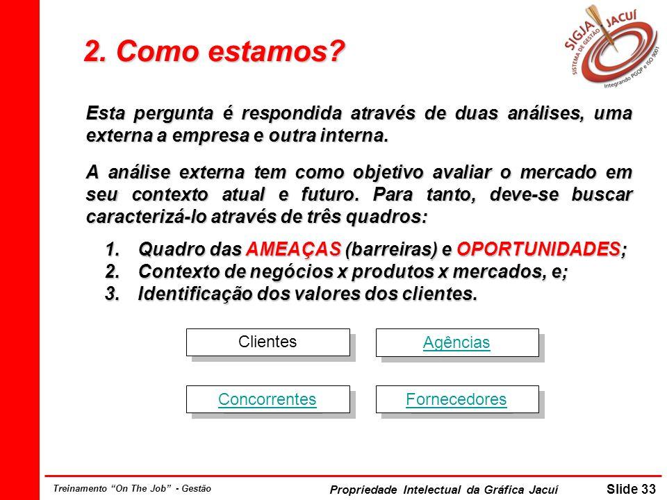 2. Como estamos Esta pergunta é respondida através de duas análises, uma externa a empresa e outra interna.