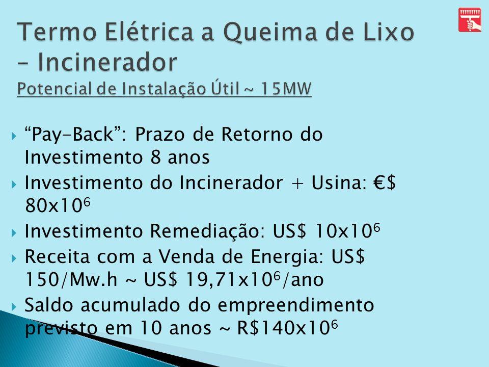 Termo Elétrica a Queima de Lixo – Incinerador Potencial de Instalação Útil ~ 15MW