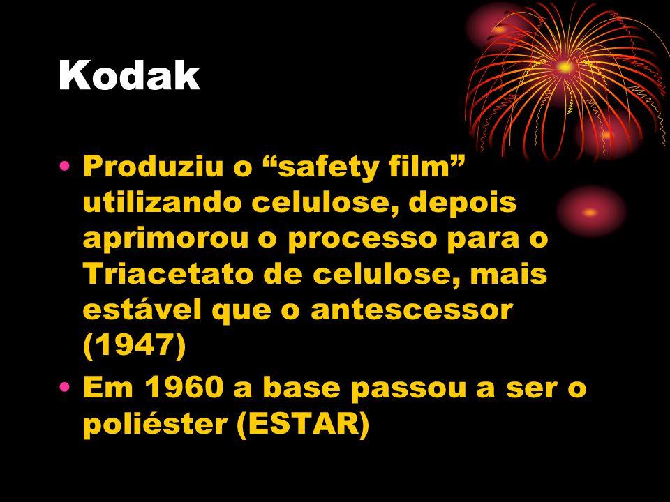 Kodak Produziu o safety film utilizando celulose, depois aprimorou o processo para o Triacetato de celulose, mais estável que o antescessor (1947)