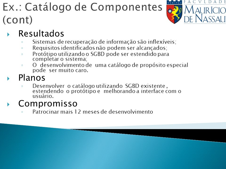 Ex.: Catálogo de Componentes (cont)