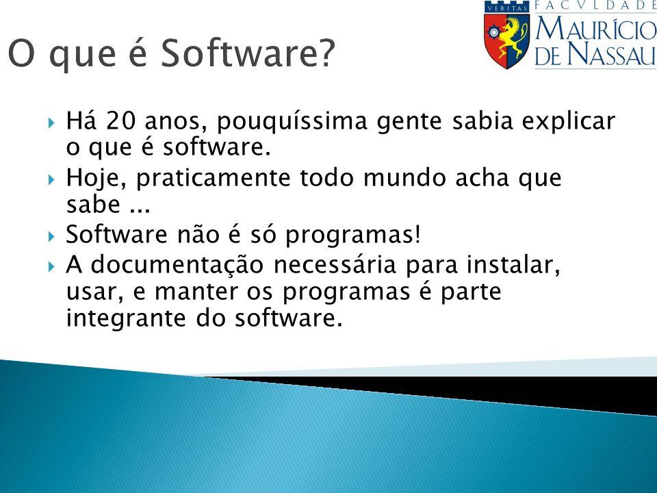 O que é Software Há 20 anos, pouquíssima gente sabia explicar o que é software. Hoje, praticamente todo mundo acha que sabe ...