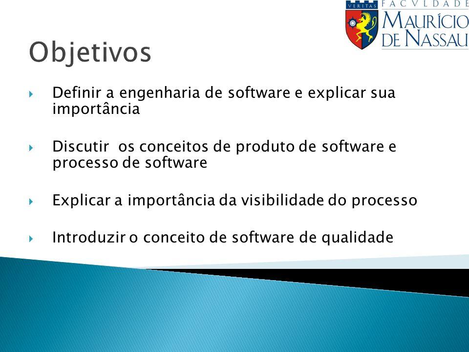 Objetivos Definir a engenharia de software e explicar sua importância