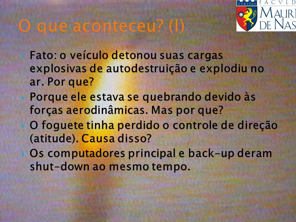 O que aconteceu (I) Fato: o veículo detonou suas cargas explosivas de autodestruição e explodiu no ar. Por que